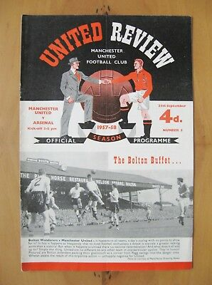 MANCHESTER UNITED v ARSENAL 1957/1958 Exc Condition Football Programme - Munich