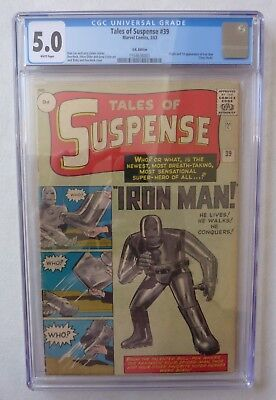 Tales Of Suspense 39 1st Iron Man Silver Age CGC 5.0 White Pages Major Key Comic