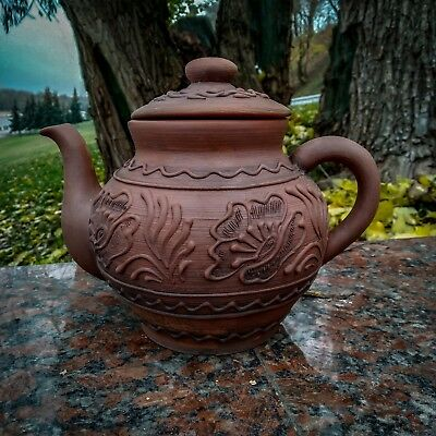 Ceramic vintage big kettle. Handmade from red clay. For tea and hot drinks.