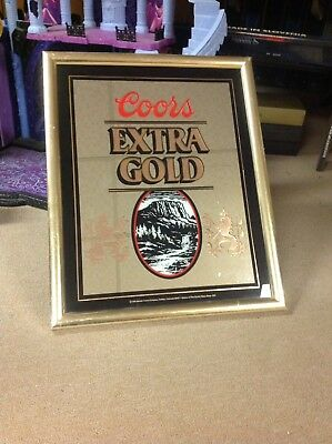 """Vintage 1988 Coors Extra Gold 17"""" x 21"""" Bar Beer Advertising Glass Mirror Sign"""