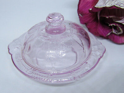 Miniature Pink Glass Queen Ann Lace Child Butter Dish Depression Style