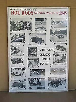 """Hot Rods As They Were -1947 28""""x20"""" NOS poster 18 great 1947 HOT RODS SCTA"""