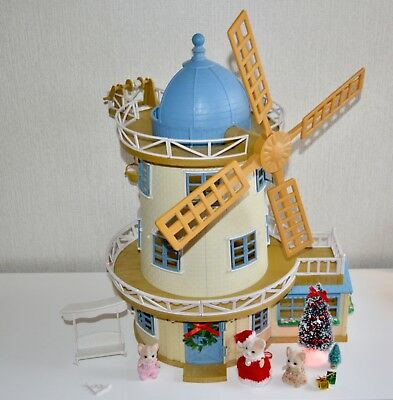 Sylvanian Families Field View Windmill with Figures and light up tree.