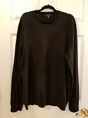 Lands End Black Crewneck Mens Cashmere Sweater Mens Xl Tall