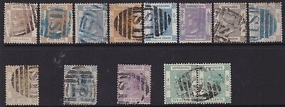 "Hong Kong - Shanghai ""s1"" Cancels Collection, Values To 96C (13 Stamps)"
