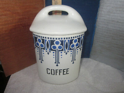 Antique Blue White Vintage Canister Coffee  Yvonne Czechoslovakia