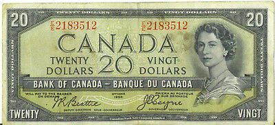 Bank of Canada 1954 $20 Twenty Dollars Devil's Face Beattie- Coyne Fine+