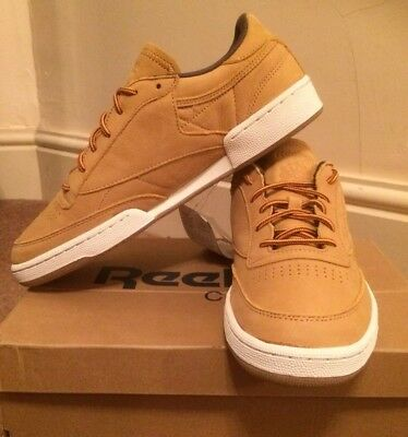 super popular d61c2 48ed3 reebok club c 85 wp BS5205 Mens Trainers Size 6uk Golden Wheat Leather New  Rare