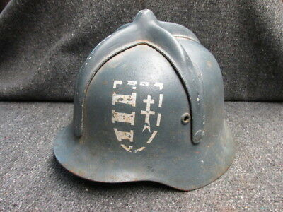 Wwii Hungarian M.35-38 Helmet-Fireman Used-W/ Stenciled Crest Insignia-Rare