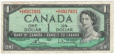 1954 Bank Of Canada One 1 Dollar Replacement Bank Note *cf 0917931 Nice Bill