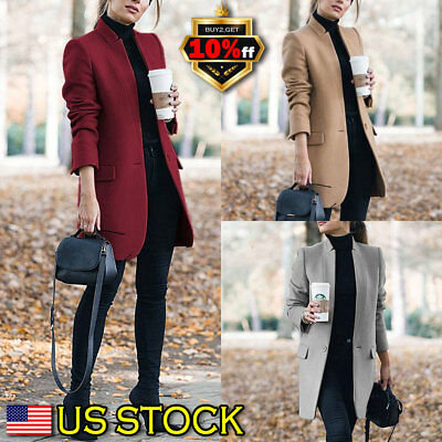 Women Winter Hooded Trench Coat Wool Blends Long Jacket Outwear Parka Overcoat