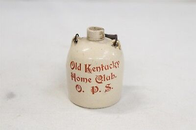 RARE Old Kentucky Home Club OPS Wooden Wire Handled Mini Stoneware Jug