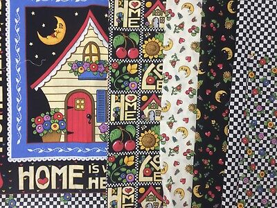 VTG LOT 3 YD Home is Where The Heart Is motto MARY ENGELBREIT FQ Fabric Quilt