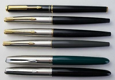 Lot Of 6 Parker Fountain Pens 3-45's, 2-21's & Black Sonnet Green Grey