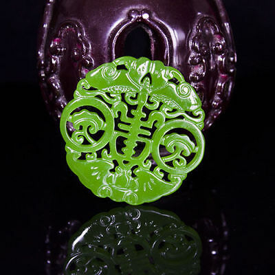 Hot china natural  Hand carved 五福拜寿 Sided hollow Pendant