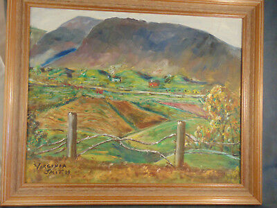 "Framed oil painting Mountain Valley signed Virginia Smith 19 1/2"" x 23 1/2"" art"