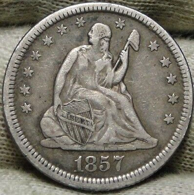1857 Seated Liberty Quarter 25 Cents . Nice Coin, Free Shipping (6572)