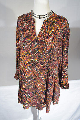 82f6441be79 Roz   Ali (Dressbarn) Womens Plus Size 2X Autumn Colored Roll Tab Sleeve  Blouse