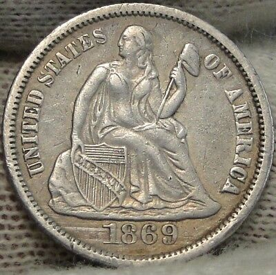 1869S  Seated Liberty Dime, 10 Cents. Key Date Only 450,000 Minted, Nice (7541)
