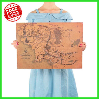 ✅ NEW The Lord of The Rings Middle Earth Map Vintage Poster Home Decor Sticker