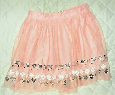 CHEROKEE GIRLS Size:  XS  4/5  THIN PEACH /SILVER/WHITE  LINED SKIRT