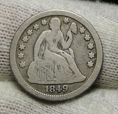 1849 O  Seated Liberty Dime, 10 Cents. Key Date 300,000 Minted, Nice Coin (7628)