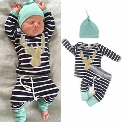 3Pcs Newborn Baby Kid Boy Stripe Long Tops Romper Pants Hat Outfits Clothes