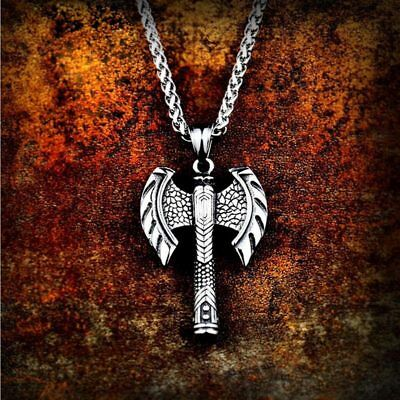 Pendant 316L Stainless Steel Norse Viking Amulet Double-edged axe Men's No Chain