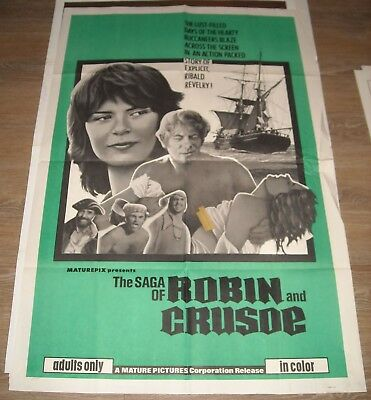 1970's The SAGA of ROBIN and CRUSOE 1 SHEET MOVIE POSTER SEXPLOITATION