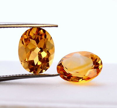 3.75 Cts Natural Citrine Oval Cut Pair 9x7 mm Top Golden Shade Loose Gemstones