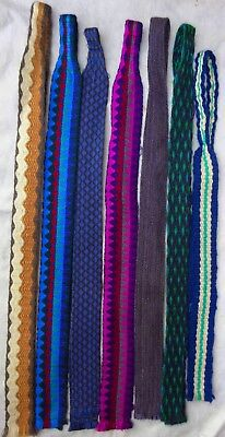 7 vintage  60's  textiles  mod flat end ties designed by Pat Holthom in Malta