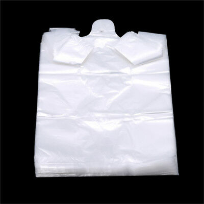 100Pcs Disposable Transparent Plastic Bags Food Shopping Bags With Handle Z