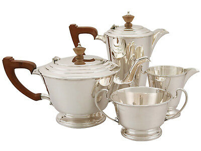 Antique George VI Sterling Silver Four Piece Tea and Coffee Set - Art Deco Style