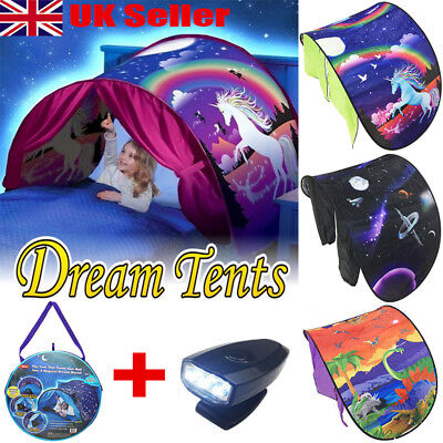 Dream Tents Kid Unicorn Space Foldable Tent Pop up Indoor Bed House + Light Gift