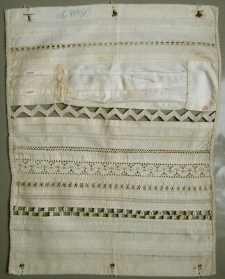 C.1900 Antique Dutch Needlework Sampler Sewing Handmade Lace Borders Signed Avs