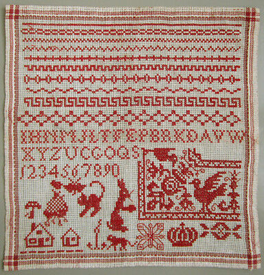 C.1900 Antique Dutch Red Alphabet Sampler Cross Stitch Houses Crown Cat Hare