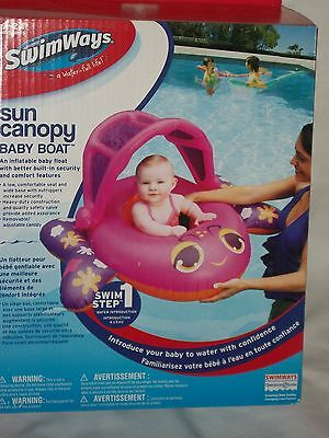 SWIMWAYS SUN CANOPY Baby Pool Float Boat Shade Inflatable Swimming Pink  Girls