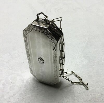 """ANTIQUE VICTORIAN NICKEL SILVER MAKEUP PURSE - With Mirror, Chain - 3.25"""" Length"""