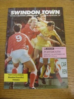 11/09/1988 Swindon Town v Portsmouth  . If this item has any faults they should