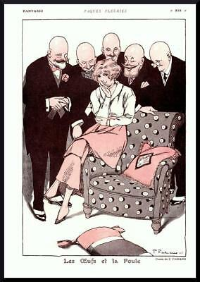 1916 ORIGINAL FRENCH VINTAGE PRINT Pretty Girl / Bald Admirers by FABIANO (F828)
