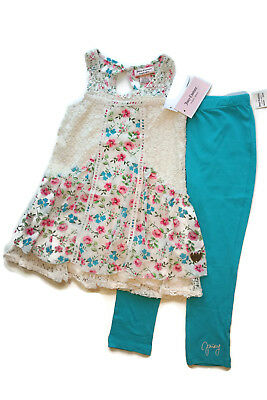 Juicy Couture 2Pc Outfit Set Top & Leggings Flowers Blue Girls 4 5 [a1104]