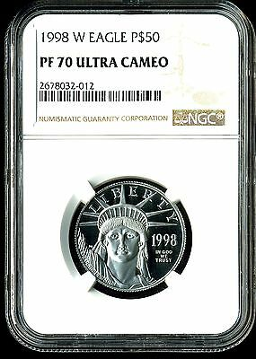 1998-W P$50 Proof Platinum American Eagle PF70 Ultra Cameo NGC 2678032-012