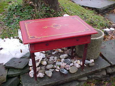 19thc CHILDS Size Wood TABLE w Orig RED PAINTED + DECORATED Surface