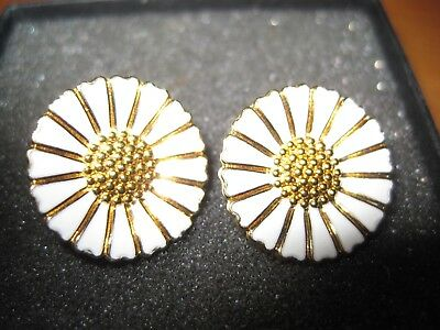 Pair of Gold Coloured and white Enamel DaisyEarrings  Unmarked