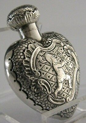 ANTIQUE SOLID SILVER LOVE HEART CUPID SCENT PERFUME BOTTLE c1900 GERMAN ANTIQUE