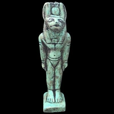 Beautiful Ancient Huge Egyptian Anubis Statuette 300 Bc (1)