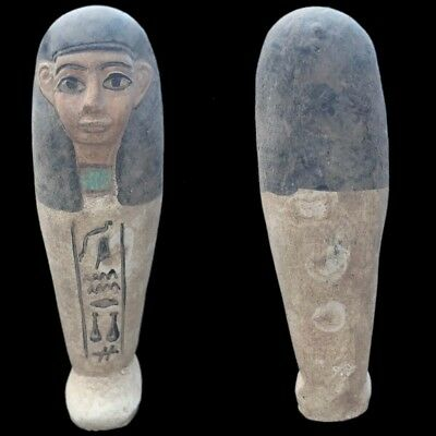 Egyptian Hieroglyphic Shabti, Late Period 664 - 332 Bc (7) Large 15.5 Cm Tall !!