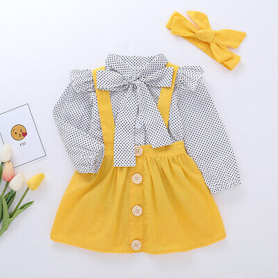 Kids Toddler Baby Girls Polka Long Sleeve Dress Outfit Set Party Costume Clothes