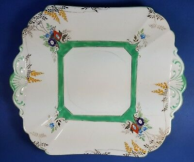 Vintage Shelley China Flame Flowers Queen Anne Square Shape Serving Plate