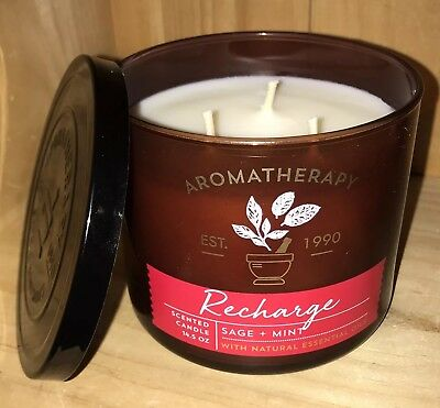Bath & Body Works Aromatherapy RECHARGE SAGE & MINT Scented 3 WICK Candle